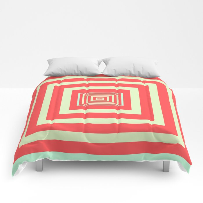 Coral and Light Blue Comforters