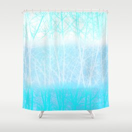 Frosted Winter Branches in Misty Blue Shower Curtain