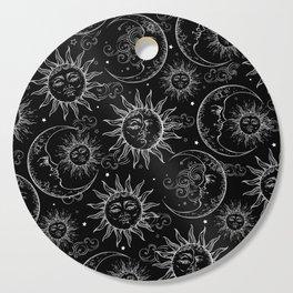 Black Magic Celestial Sun Moon Stars Cutting Board