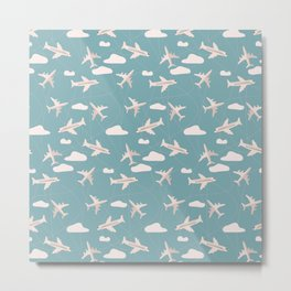 Travel pattern with airplanes Metal Print