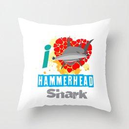 The great hammerhead shark Tee makes a great gift for shark lover Tee design I love hammerhead shark Throw Pillow