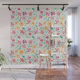 Clementine and Coral Watercolor Floral Light Wall Mural