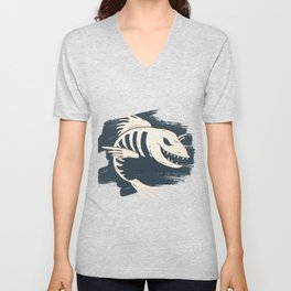 Fish Skull / Skeleton Unisex V-Neck