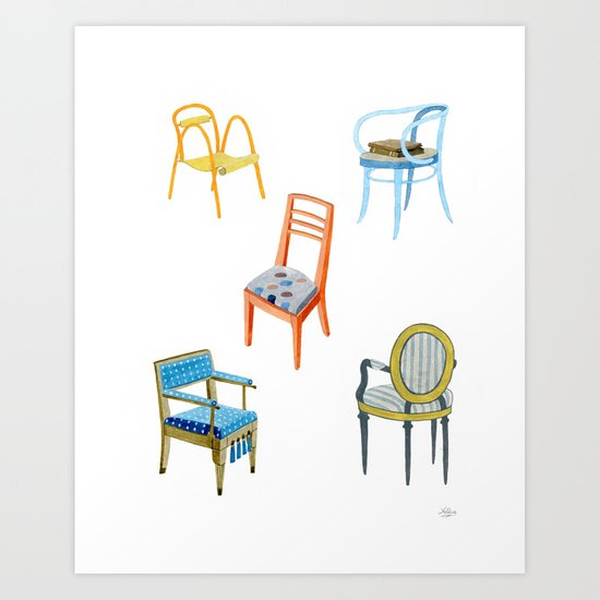 Chairs number 3 Art Print