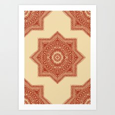 The Red Moroccan Pattern Art Print