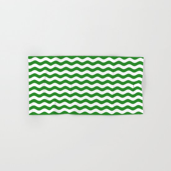 Wavy Stripes (Forest Green/White) Hand & Bath Towel