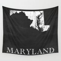 maryland Wall Tapestries featuring Maryland State Map Chalk Drawing by Finlay McNevin