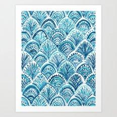 NAVY LIKE A MERMAID Fish Scales Watercolor Art Print