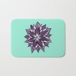 Purple Mandala Like Abstract Flower Bath Mat