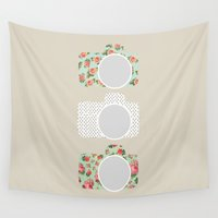 polka dot Wall Tapestries featuring Floral & Polka Dot Cameras by Allyson Johnson