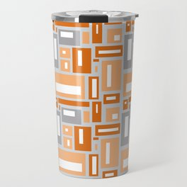 Simple Geometric Pattern in Peach and Gray Travel Mug