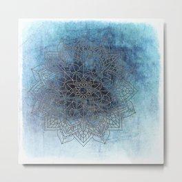 Indigo Blue Soft Blue White Mandala Metal Print