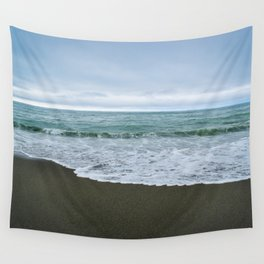 Californian Black Sand Beach Wall Tapestry