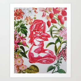 Feminine Vulnerability and Pink Flowers Art Print