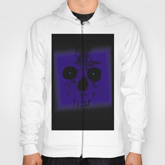 Blue Skull on Black Hoody