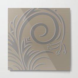 Floral Fantasy Taupe  Metal Print