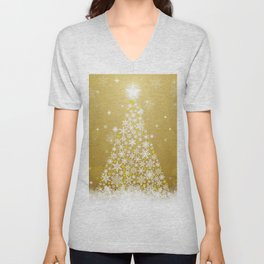 Gold Snowflakes Sparkling Christmas Tree Unisex V-Neck