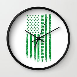 USA St. Patrick's Day Flag alcohol Gift Wall Clock