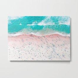 Beach Wall Art, Aerial View of Beach, Teal Ocean Print Metal Print