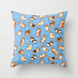 Jolly corgis in blue Throw Pillow