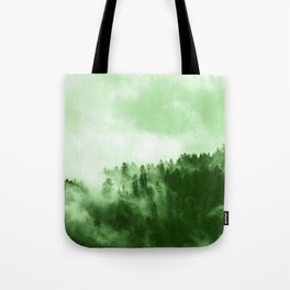 Clear away the fog to see the light. Green Tote Bag