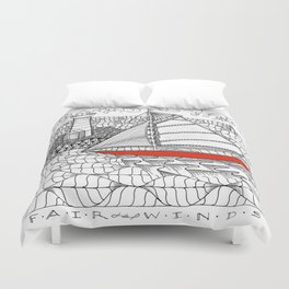 Sailors Dream Fair Winds Sailboat Zentangle Duvet Cover