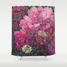 Pink Flowers at Twilight Abstract Shower Curtain