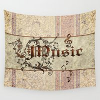 music notes Wall Tapestries featuring Music by nicky2342