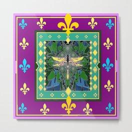 Yellow Dragonfly Purple Fleur de Lys Abstract Metal Print
