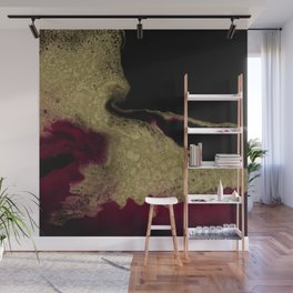 Black Honey - resin abstract painting, black and gold abstract art Wall Mural