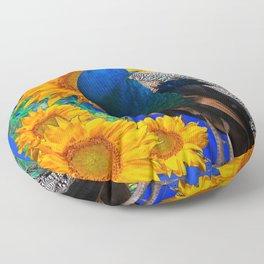 BLUE PEACOCK & GOLDEN SUNFLOWERS BLUE ART Floor Pillow