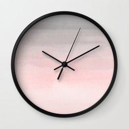 Blushing Pink & Grey Watercolor Wall Clock
