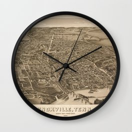 Vintage Print - Bird's Eye View of Knoxville, Tennessee, 1886 Wall Clock