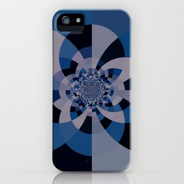 Shades of Classic Blue & Gray Kaleidoscope Mandala iPhone Case