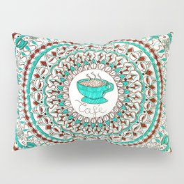Cafe Expresso Teal, Brown, and White Mandala Pillow Sham