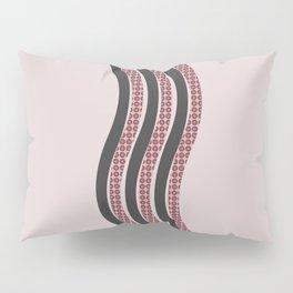 Pastel Pink Textured Black  Waves Pillow Sham