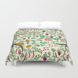 Fairy seamless pattern garden with plants, tree and flowers Duvet Cover