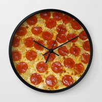 pizza Wall Clocks featuring Pizza by Katieb1013
