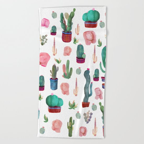 cactus and butts Beach Towel