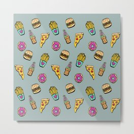 Fast Food Heaven Illustrated Pattern Metal Print