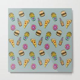 Fast Food Heaven Illustrated Pattern Metal Print