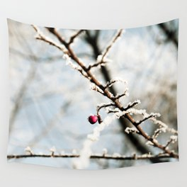 Frozen branch with red berry Wall Tapestry
