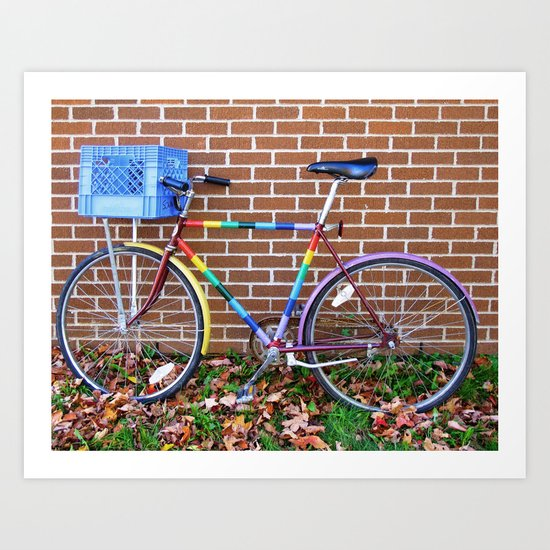 Rainbow Bicycle Art Print