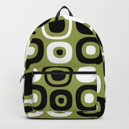 Mid Century Modern Garden Path Pattern 381 Olive Green and Black Backpack