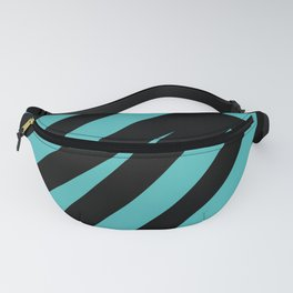 Black blue abstract stripes Fanny Pack