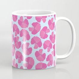 Pink Hibiscus with Blue Background Coffee Mug