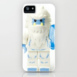 White Yeti Minifig eating an icecream iPhone Case