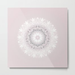 Blush Gray White Floral Mandala Metal Print