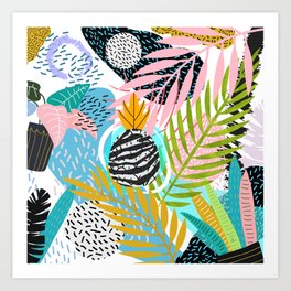 abstract palm leaves Art Print