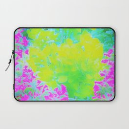 Vivid Yellow and Pink Abstract Garden Foliage Laptop Sleeve